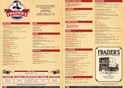 Frazier's on the Avenue menu